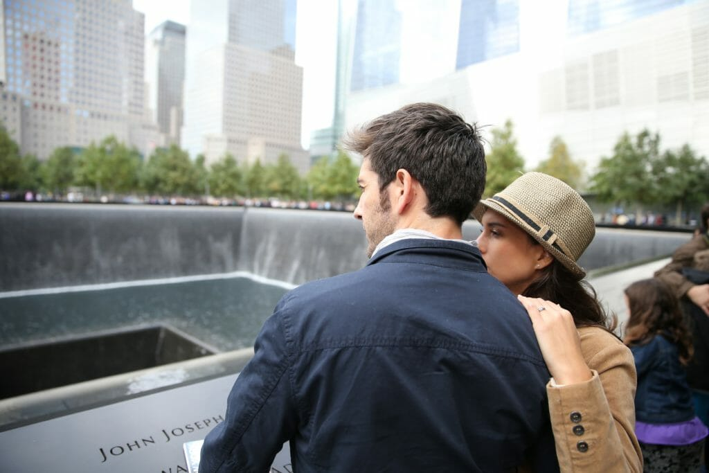 Tourists visiting 911 memorial in Manhattan